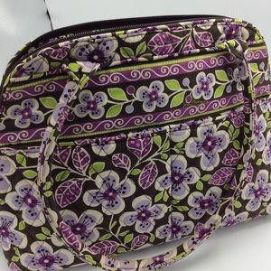 Vera Bradley 100% Cotton Purple Flowered Zip Bag
